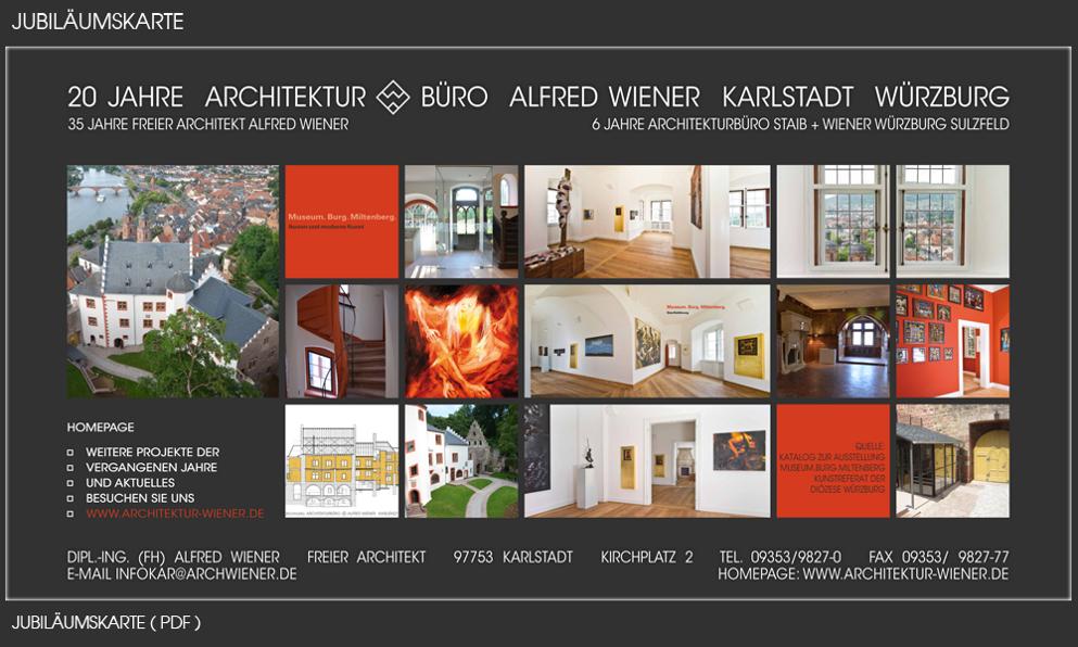 Jubiläumskarte 2011 Architekturbüro Alfred Wiener Karlstadt